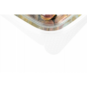 Feinkostbecher aus rPET quadratisch mit Deckel