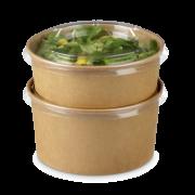 Deckel aus rPET zu Salatschalen aus Karton braun