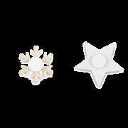 Stern & Schneeflocke GLITTER mit Selbstklebepunkt