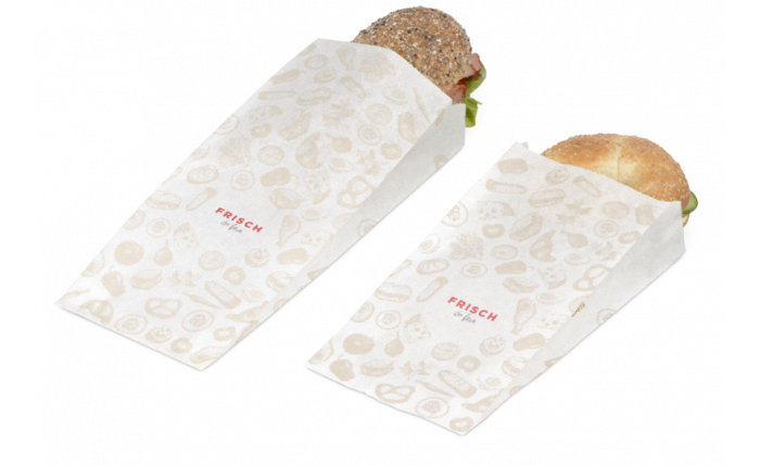 Papierfaltenbeutel «FRISCH & fein» Take away