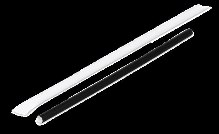 Papier-Trinkhalm schwarz, gehüllt, Ø 8 mm