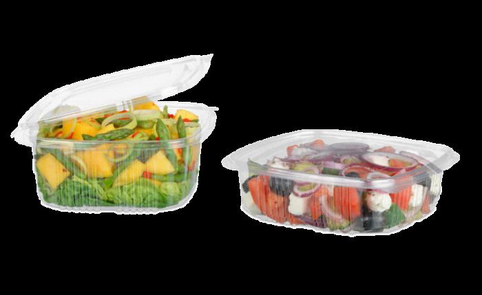 Salatschale aus rPET quadratisch mit Deckel