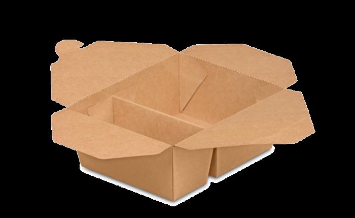 Mitnahme-Box eckig braun 2-geteilt PREMIUM, L