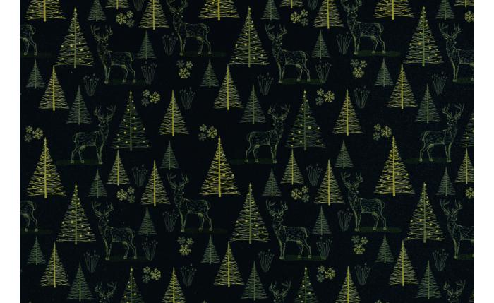 Geschenkpapier-Bogen, schwarz/Bäume