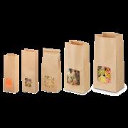 Blockbodenbeutel aus Kraftpapier mit Sichtfenster