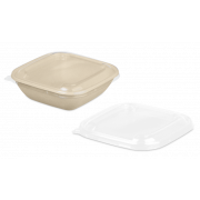 rPET-Deckel zu Schale aus Bagasse quadratisch