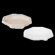 rPET-Deckel zu Schale aus Bagasse achteckig