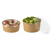 Deckel aus rPET zu Salatschale aus Karton braun rund