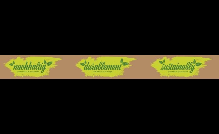 SK-Band Papier braun, «nachhaltig geschützt & verpackt»