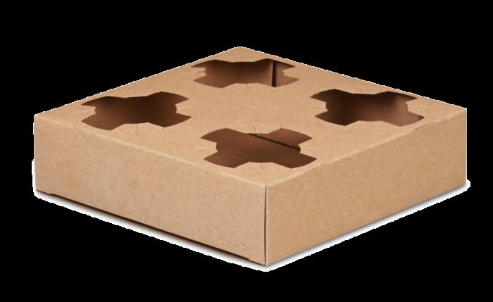 Tragehilfe für 4 Becher aus Karton