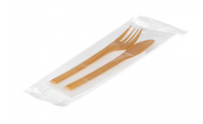 Besteckset: Gabel, Messer, Serviette aus WPC 180 mm