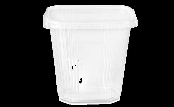 PP-Rechteckbecher mit Deckel 500 ml/500 g