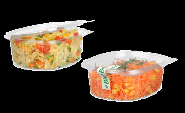Salatschale aus rPET rechteckig mit Deckel