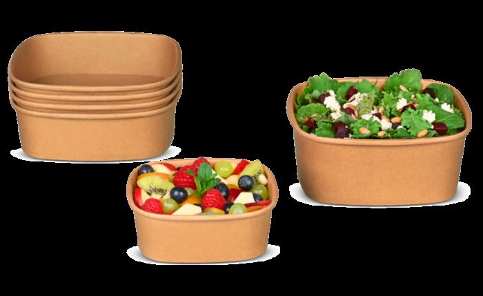 Salatschale aus Karton braun eckig