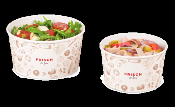 Salatschale aus Karton «FRISCH & fein» mit PE-Beschichtung