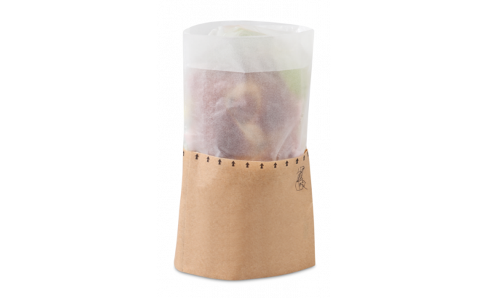 Snack-Bag L braun mit Pergamin-Sichtfenster