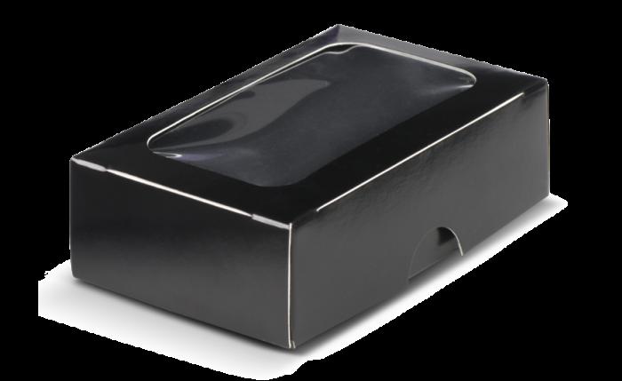 Mini-Geschenkbox mit Sichtf. schwarz 90×58×30 mm