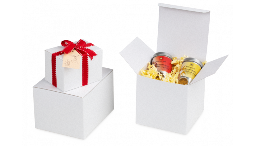 Geschenk-/Präsentationsbox weiß 50×50×100 mm